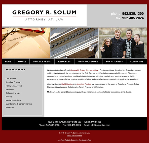 Law Firm Website Design for Gregory R. Solum, Attorney at Law