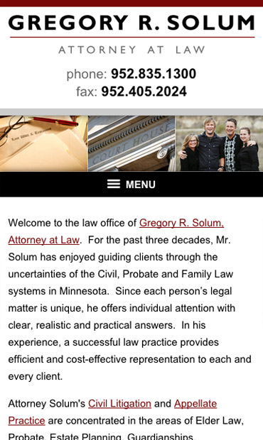 Responsive Mobile Attorney Website for Gregory R. Solum, Attorney at Law