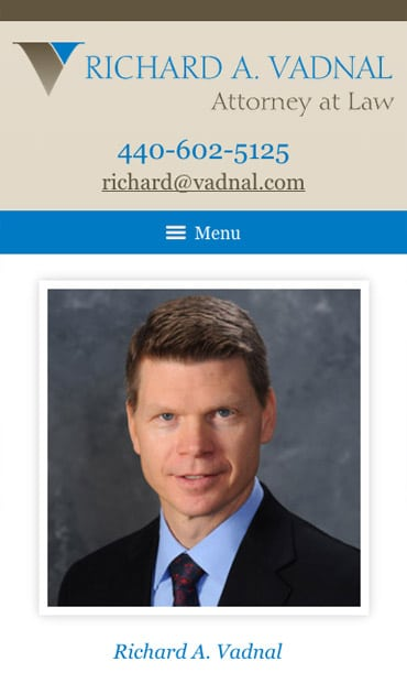 Responsive Mobile Attorney Website for Richard A. Vadnal