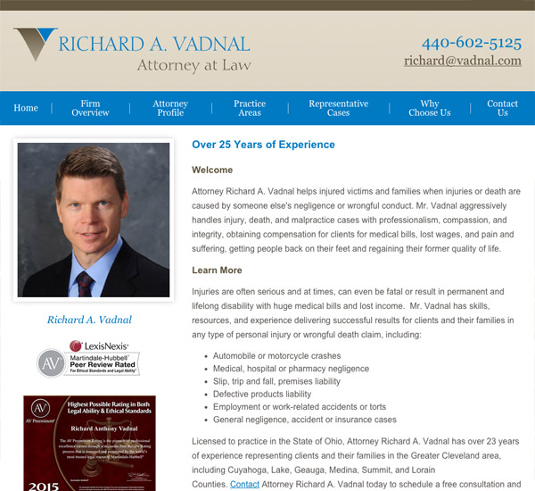 Mobile Friendly Law Firm Webiste for Richard A. Vadnal