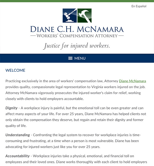 Mobile Friendly Law Firm Webiste for Diane C.H. McNamara