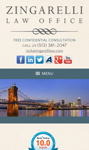 Responsive Mobile Attorney Website for Zingarelli Law Office, LLC