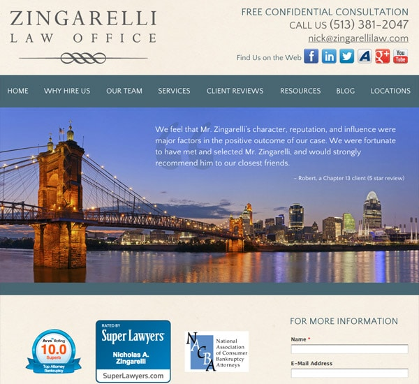 Mobile Friendly Law Firm Webiste for Zingarelli Law Office, LLC
