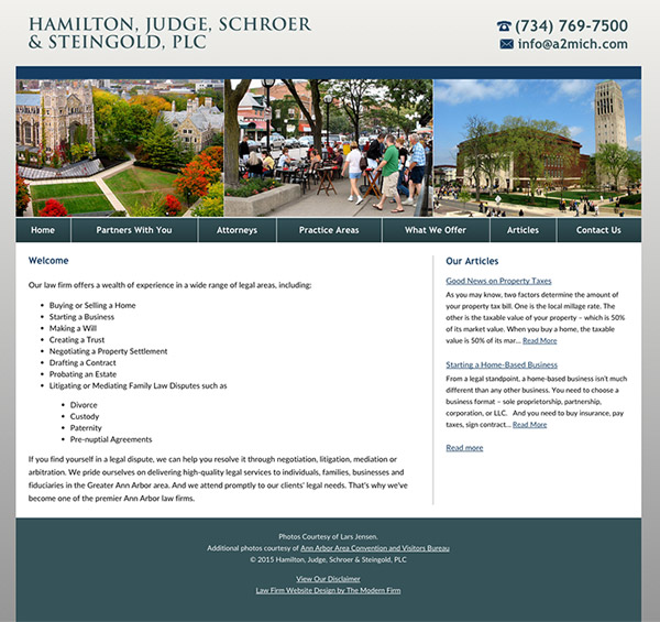 Law Firm Website for Hamilton, Judge, Schroer & Steingold, PLC