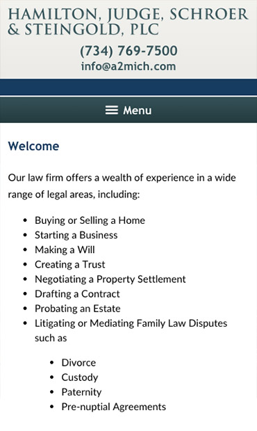 Responsive Mobile Attorney Website for Hamilton, Judge, Schroer & Steingold, PLC