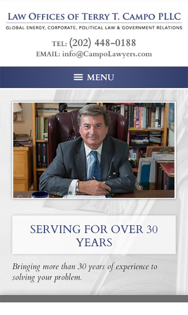 Responsive Mobile Attorney Website for Law Offices of Terry T. Campo PLLC
