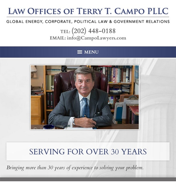 Mobile Friendly Law Firm Webiste for Law Offices of Terry T. Campo PLLC