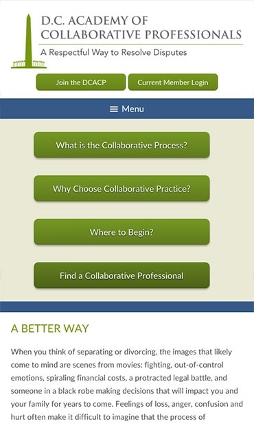 Responsive Mobile Attorney Website for D.C. Academy of Collaborative Professionals