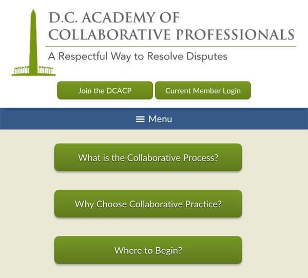 Law Firm Website for D.C. Academy of Collaborative Professionals