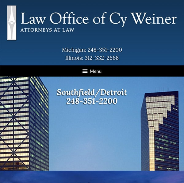 Mobile Friendly Law Firm Webiste for Law Office of Cy Weiner