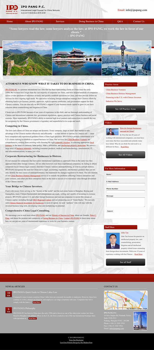 Law Firm Website Design for IPO PANG P.C.