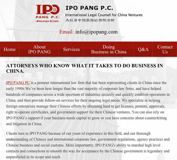 Mobile Friendly Law Firm Webiste for IPO PANG P.C.