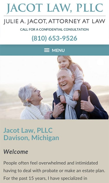 Responsive Mobile Attorney Website for Jacot Law, PLLC