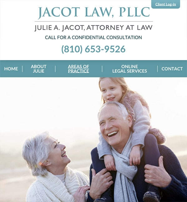 Mobile Friendly Law Firm Webiste for Jacot Law, PLLC