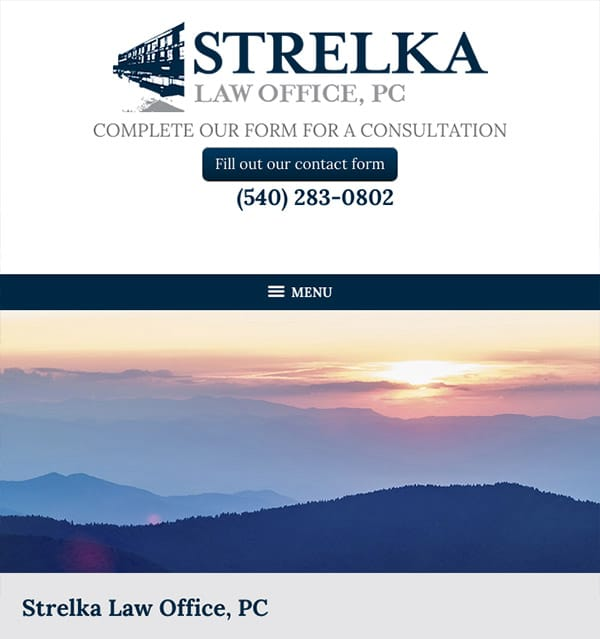 Mobile Friendly Law Firm Webiste for Strelka Law Office, PC