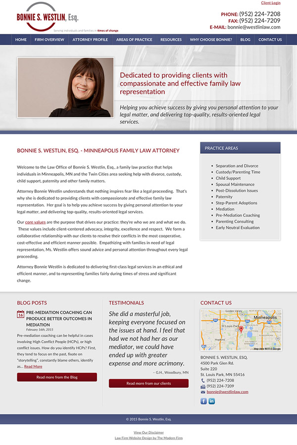 Law Firm Website Design for Bonnie S. Westlin