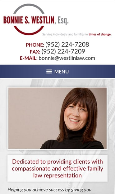 Responsive Mobile Attorney Website for Bonnie S. Westlin