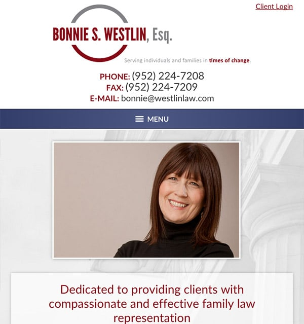 Mobile Friendly Law Firm Webiste for Bonnie S. Westlin