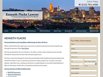 Law Firm Website design for Kenneth Flacks Lawyer
