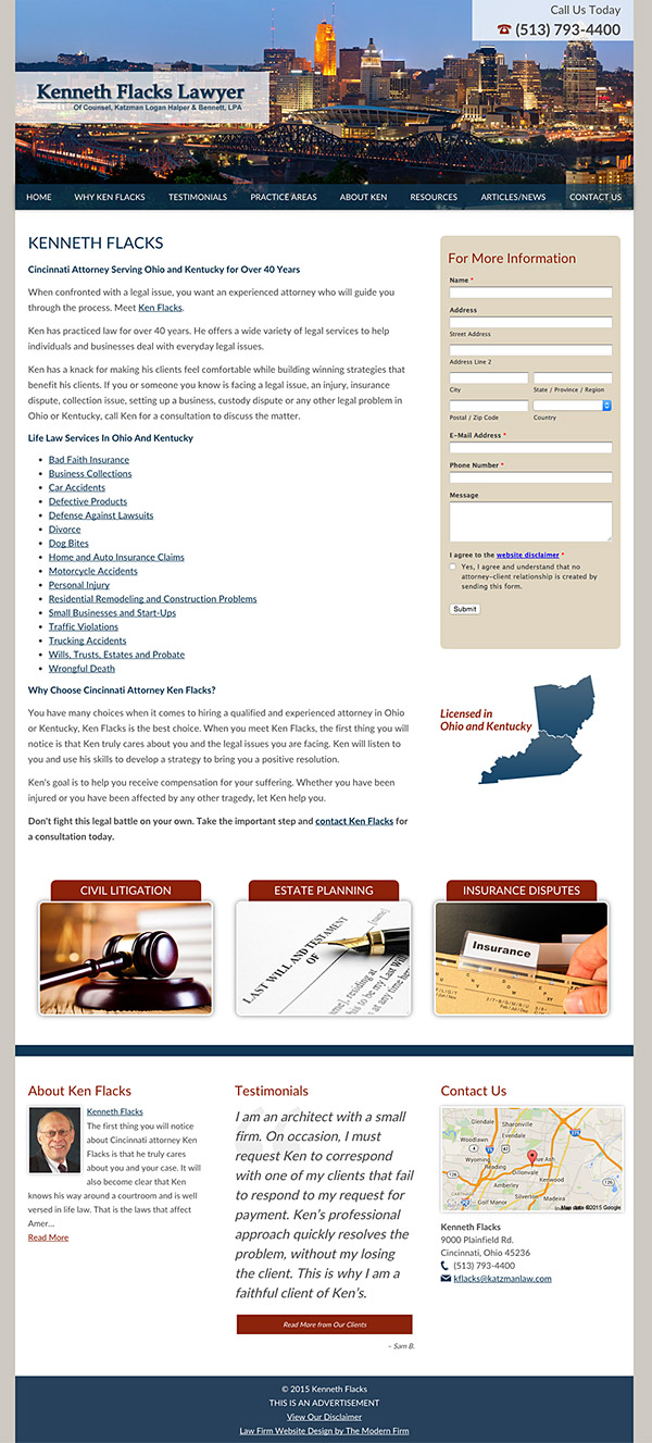 Law Firm Website Design for Kenneth Flacks Lawyer
