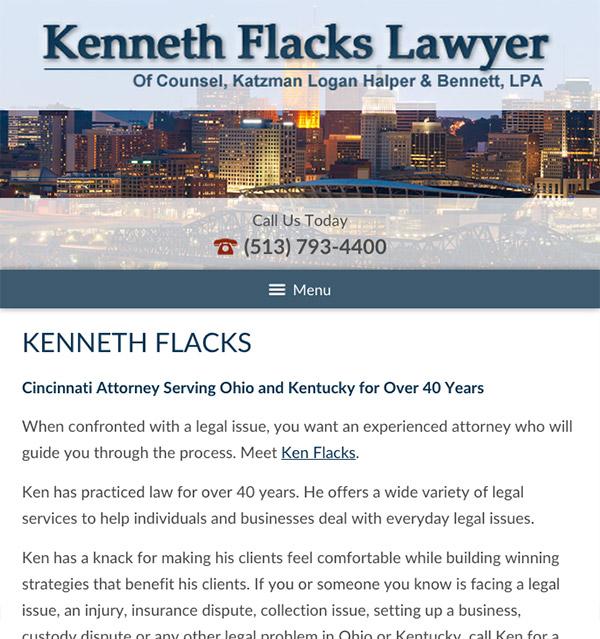 Mobile Friendly Law Firm Webiste for Kenneth Flacks Lawyer