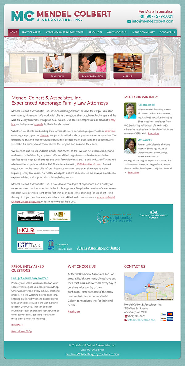 Law Firm Website Design for Mendel Colbert & Associates, Inc.