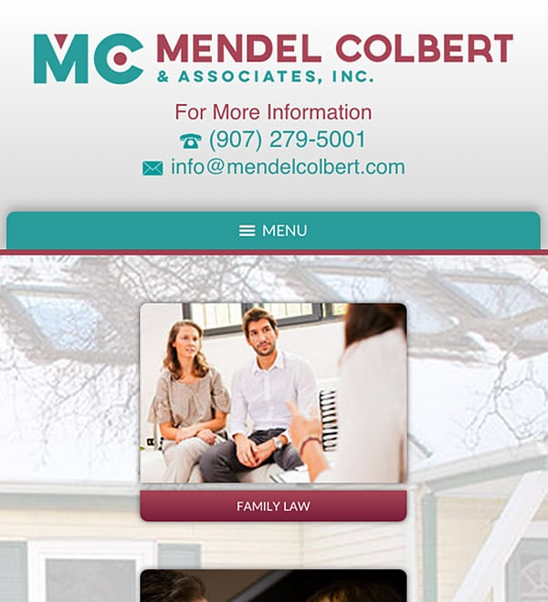 Mobile Friendly Law Firm Webiste for Mendel Colbert & Associates, Inc.