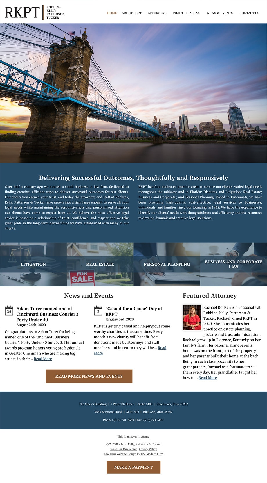 Law Firm Website Design for Robbins Kelly Patterson Tucker