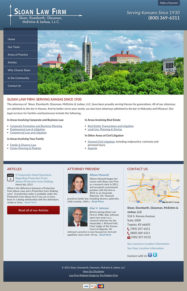 Law Firm Website Design for Sloan, Eisenbarth, Glassman, McEntire & Jarboe, L.L.C.