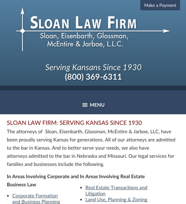 Mobile Friendly Law Firm Webiste for Sloan, Eisenbarth, Glassman, McEntire & Jarboe, L.L.C.