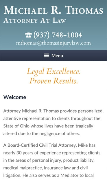 Responsive Mobile Attorney Website for Michael R. Thomas, Attorney at Law