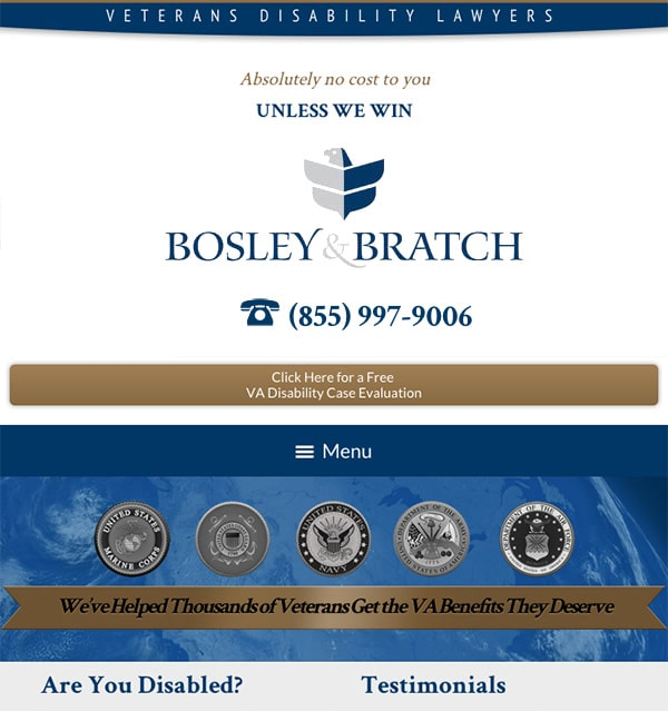 Mobile Friendly Law Firm Webiste for Bosley & Bratch