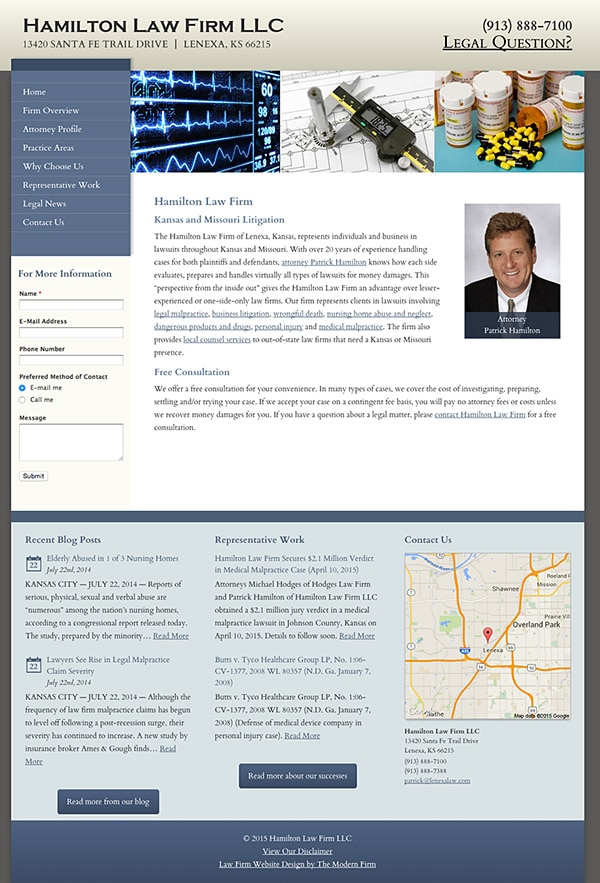 Law Firm Website for Hamilton Law Firm LLC