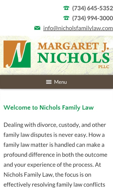 Responsive Mobile Attorney Website for Margaret J. Nichols PLLC