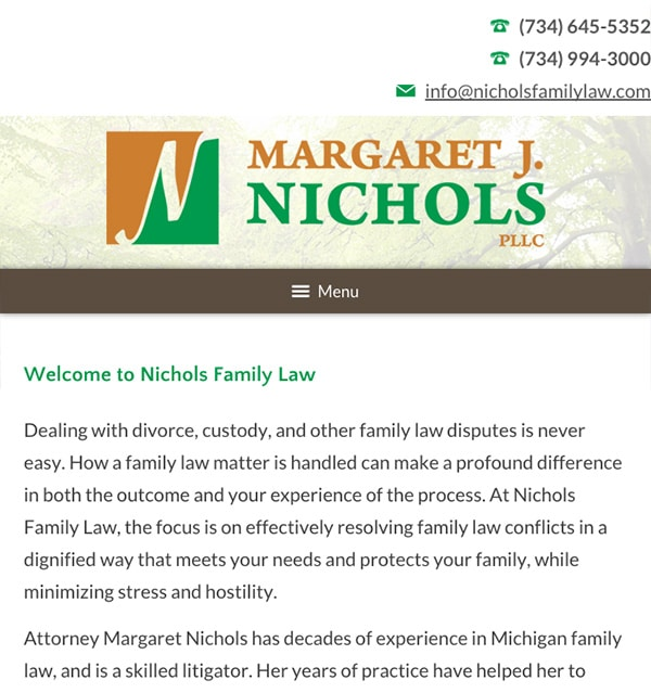 Mobile Friendly Law Firm Webiste for Margaret J. Nichols PLLC