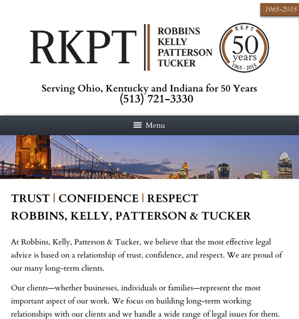 Mobile Friendly Law Firm Webiste for Robbins Kelly Patterson Tucker