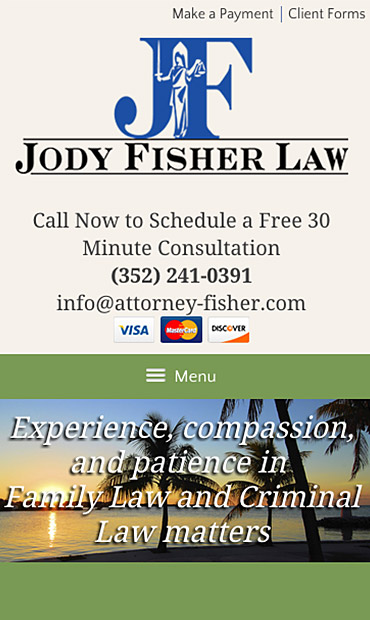 Responsive Mobile Attorney Website for Law Office of Jody L. Fisher