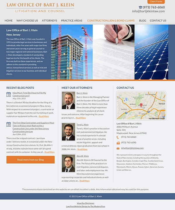 Law Firm Website Design for Law Office of Bart J. Klein