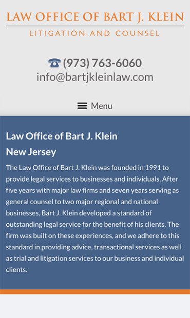 Responsive Mobile Attorney Website for Law Office of Bart J. Klein