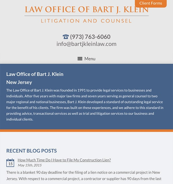 Mobile Friendly Law Firm Webiste for Law Office of Bart J. Klein