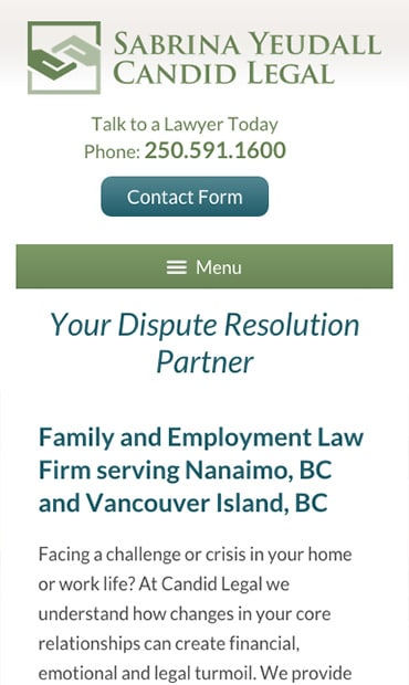 Responsive Mobile Attorney Website for Candid Legal