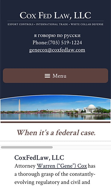 Responsive Mobile Attorney Website for Cox Fed Law, LLC