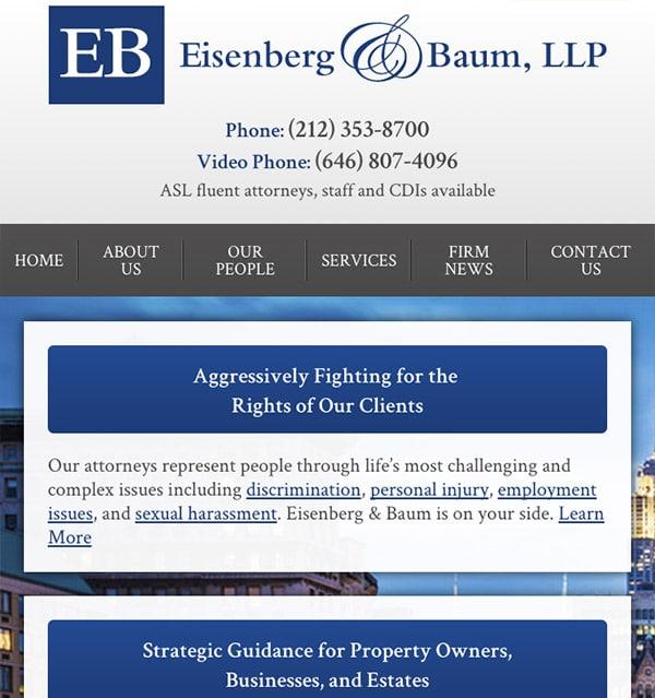 Mobile Friendly Law Firm Webiste for Eisenberg & Baum, LLP