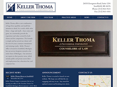 Law Firm Website design for Keller Thoma, A Professio…