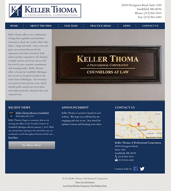 Law Firm Website for Keller Thoma, A Professional Corporation