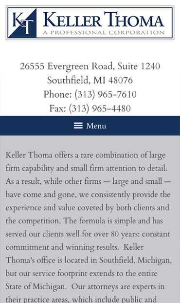 Responsive Mobile Attorney Website for Keller Thoma, A Professional Corporation