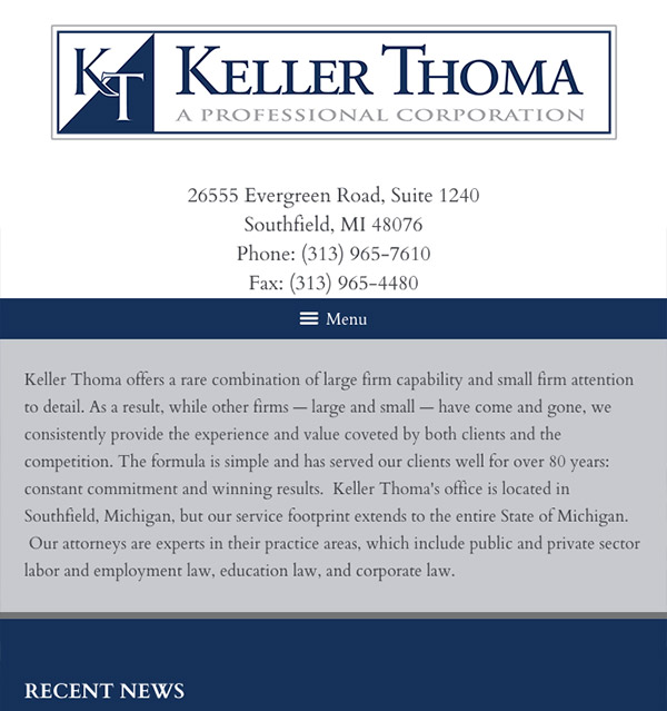 Mobile Friendly Law Firm Webiste for Keller Thoma, A Professional Corporation
