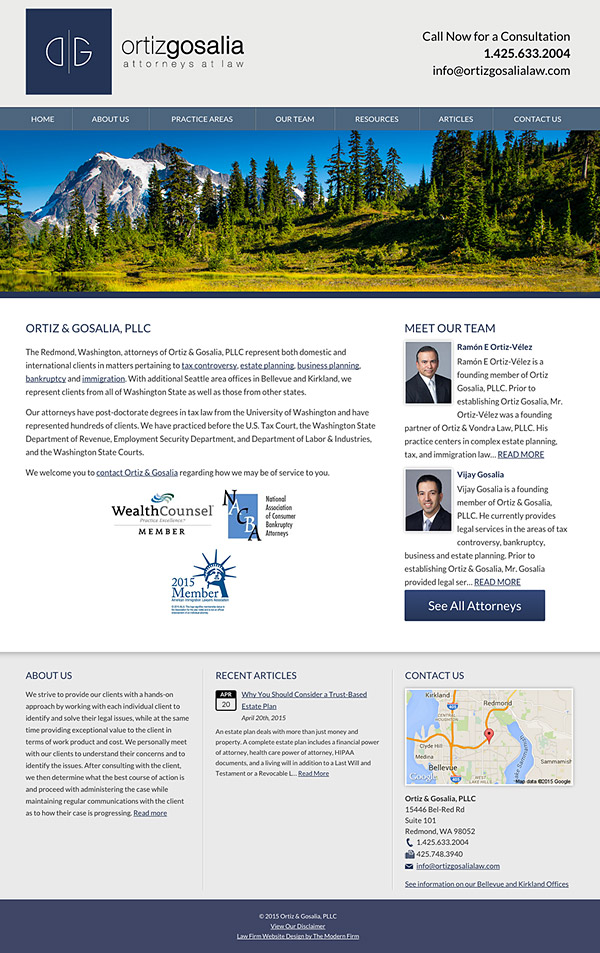Law Firm Website Design for Ortiz & Gosalia, PLLC