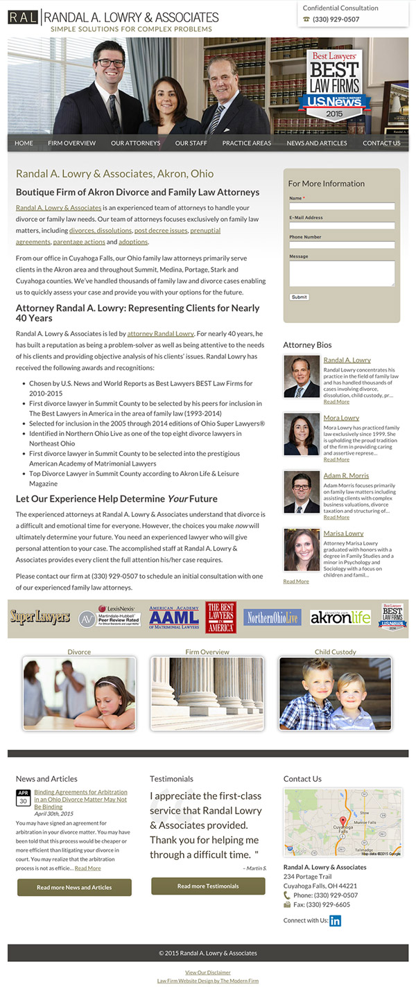 Law Firm Website Design for Randal A. Lowry & Associates