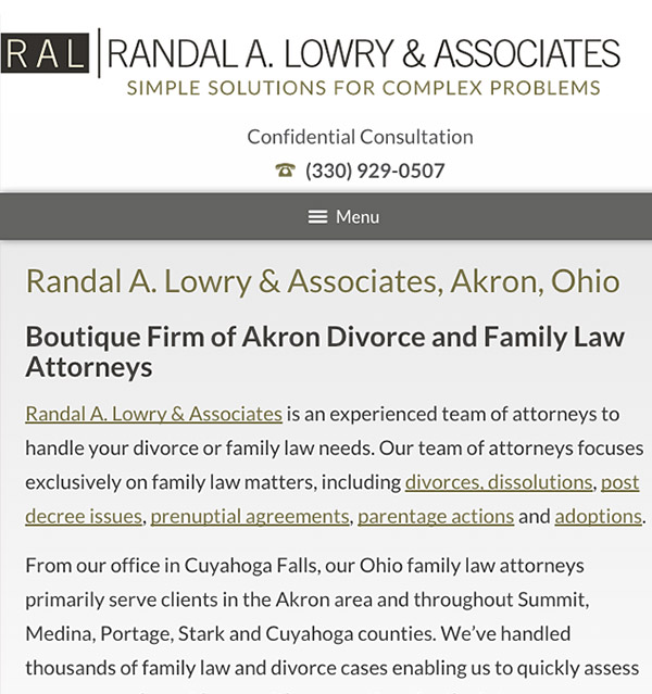 Mobile Friendly Law Firm Webiste for Randal A. Lowry & Associates